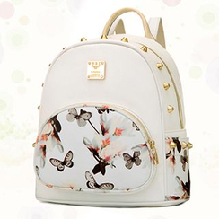 BeiBaoBao - Faux-Leather Studded Floral Backpack