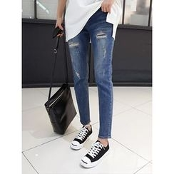hellopeco - Straight-Cut Distressed Jeans