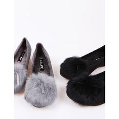 J.ellpe - Faux-Fur Trim Hidden-Heel Flats