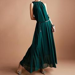 Dream a Dream - Frilled Neckline Sheath Chiffon Evening Dress