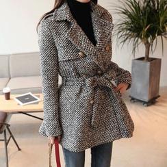 DABAGIRL - Wool Blend Tweed Peplum Jacket with Sash