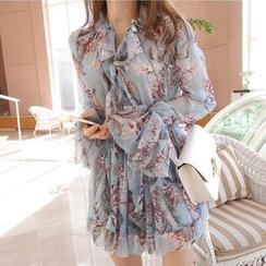 Aurora - Long-Sleeve Floral Ruffled Dress