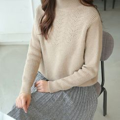 CLICK - Turtle-Neck Wool Blend Sweater