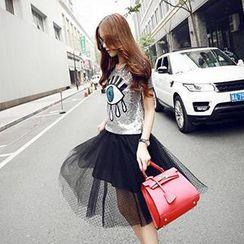 Romantica - Set: Sequined Eye T-Shirt + Mesh Skirt