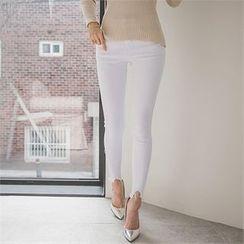 ERANZI - Cutout-Hem Skinny Pants
