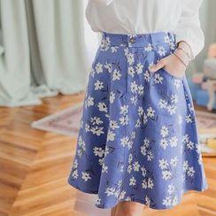 Tokyo Fashion - Flower Pattern A-Line Midi Skirt