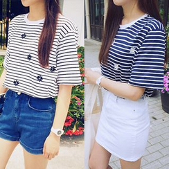 Cloud Nine - Short-Sleeve Striped Embroidered T-Shirt