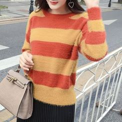 Honeydew - Striped Furry Sweater