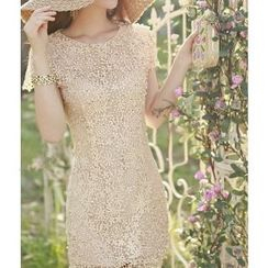 Amella - Short-Sleeve Crochet Dress