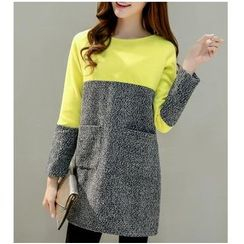 Dowisi - Long-Sleeve Two-Tone Dress