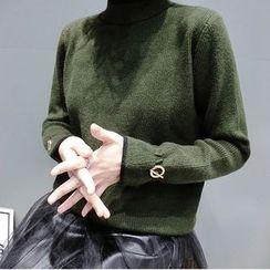 蘭芝 - 配色邊小高領毛衣