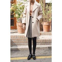 CHERRYKOKO - Notched-Lapel Buttoned Wool Blend Coat