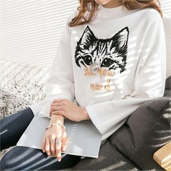 PIPPIN - Cat-Printed Mini Pullover Dress