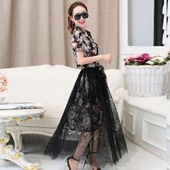 AiSun - Set: Floral Shirtdress + Lace Sheer Midi Skirt