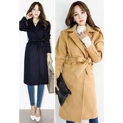 INSTYLEFIT - Wool Blend Button-Sleeve Coat with Sash