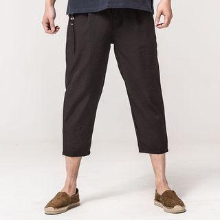 Ashen - Drawstring Cropped Pants