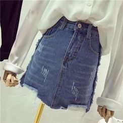 Octavia - Distressed Denim Skirt