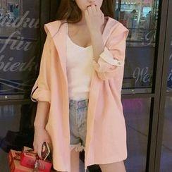 Sakura Rain - Tab-Sleeve Hooded Lettering Coat