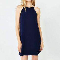 Richcoco - Plain Halter Chiffon Dress