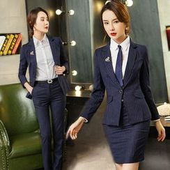 Aision - Striped Blazer / Shirt / Pencil Skirt / Pants