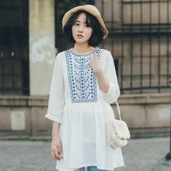 11.STREET - 3/4-Sleeve Embroidered Chiffon Blouse