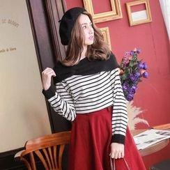Tokyo Fashion - Paneled Striped Knit Top
