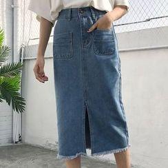 Cloud Nine - Fray Slit Denim Skirt