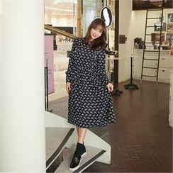 clicknme - Ruffle-Trim Pattern Long Dress