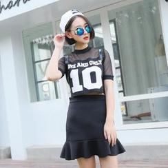 SUYISODA - Set: Mesh Panel Short-Sleeve Cropped Top + Ruffle Hem Skirt