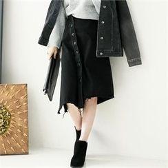 GLAM12 - Asymmetric Denim Skirt