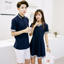 Bonne Nuit - Couple Striped T-Shirt Dress / Polo Shirt