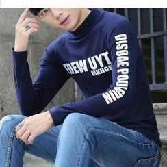 Recluso - Lettering Mock Neck Long Sleeve T-Shirt