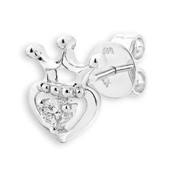MBLife.com - 18K White Gold Diamond Solitaire Heart With Crown Single Stud Earring (0.08ct), Women Jewelry Gift