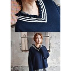 GOROKE - Frilled V-Neck Contrast-Trim Sweater