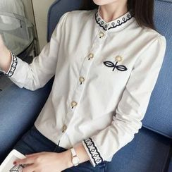 Angel Love - Embroidered Stand Collar Shirt