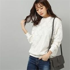 Styleberry - Round-Neck Lace Pullover