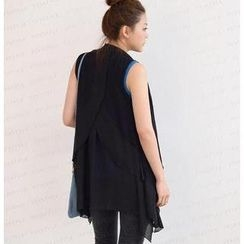 SO Central - Chiffon Panel Open-Front Vest