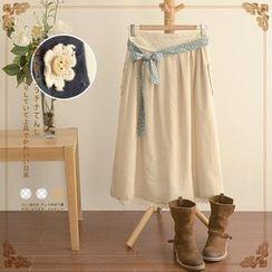 Angel Love - Tie-Waist Flower Accent Long Skirt
