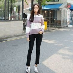 Envy Look - Striped Hooded Knit Top
