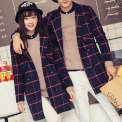 Bay Go Mall - Couple Matching Check Double-Breasted Coat