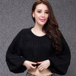 Ozipan - Puff-Sleeve Cropped Sweater
