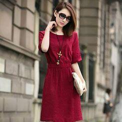 Romantica - Short-Sleeve Gathered-Waist Dress