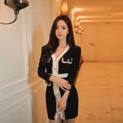 Gl.bY - Buttoned Contrast Trim Sheath Dress