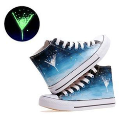 HVBAO - Painted High-Top Lace-Up Canvas Sneakers