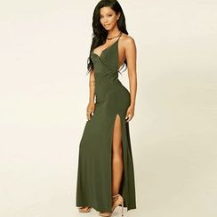 Hotprint - V-Neck Slit Maxi Dress