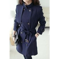 UPTOWNHOLIC - Contrast-Collar Trench Coat