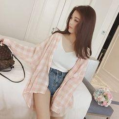 艾佳依 - 垂肩格子襯衫