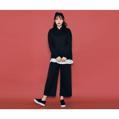 HOTPING - Set: Kangaroo-Pocket Hooded Top + Band-Waist Wide-Leg Pants