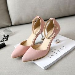 Pastel Pairs - Ankle Strap Pointy Toe Kitten Heels