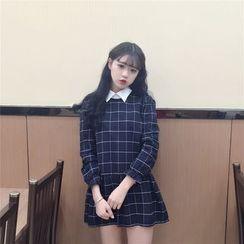 气质淑女 - 七分袖格子A字连衣裙